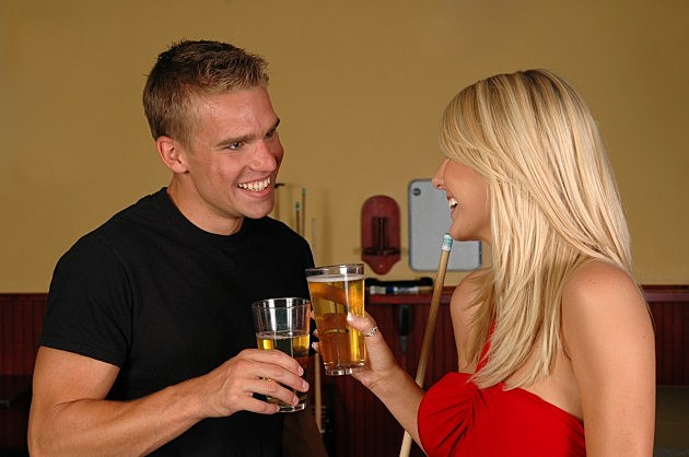 Guy and Girl Drinking