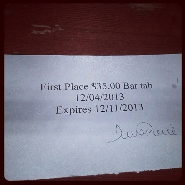 Bar Tab for Winning First Place in Bar Trivia